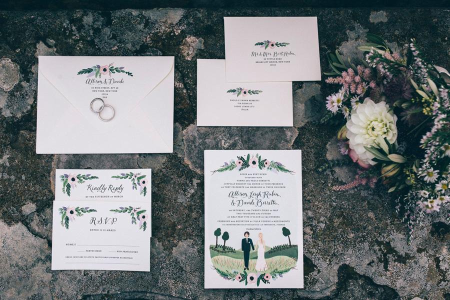stationaries wedding invitations graphic flowers heather davis