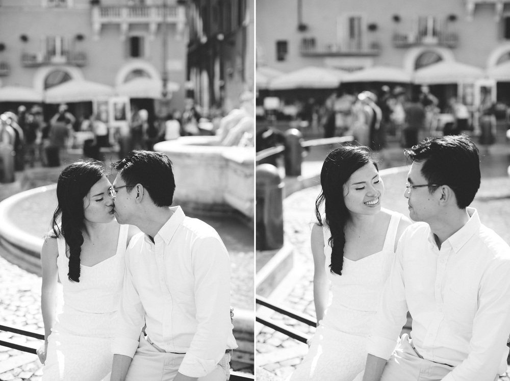 fountain engagement destination love couple chinese rome bw phot