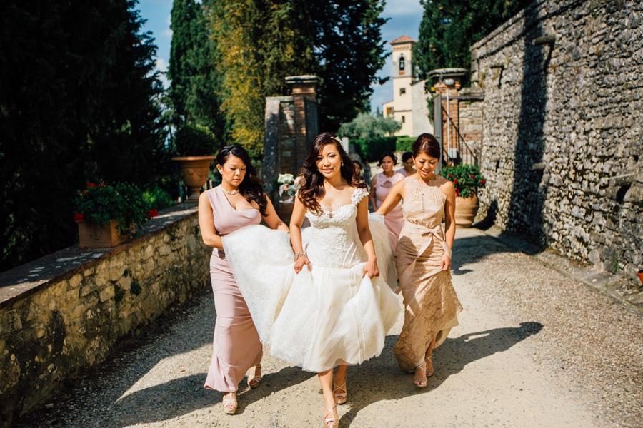 destination wedding tuscany castle vicchiomaggio bride bridesmat