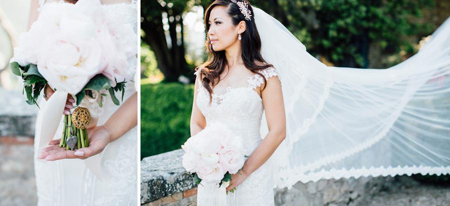 bride portrait bouquet flowers dress destination wedding tuscany