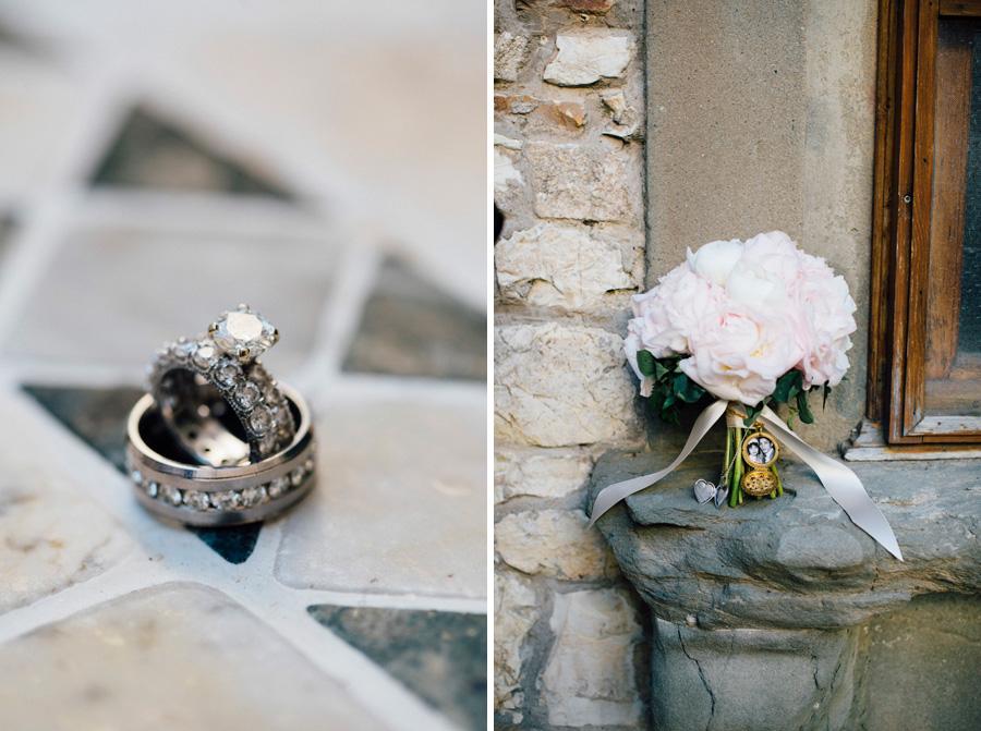 bouquet flowers rings diamond wedding tuscany destination