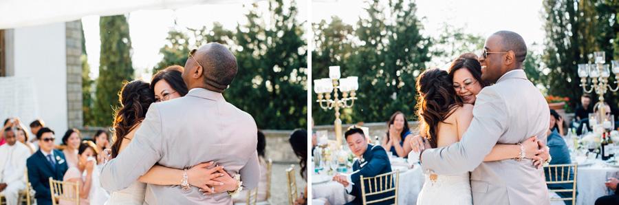 family hug bride groom love moment