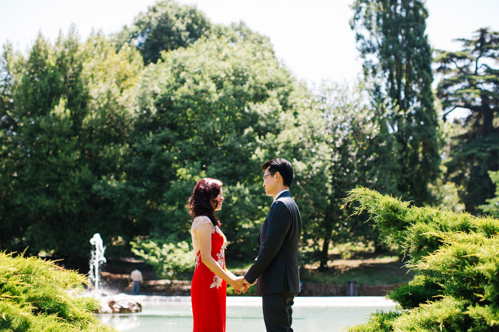 engagement destination red dress park nature couple love stefano