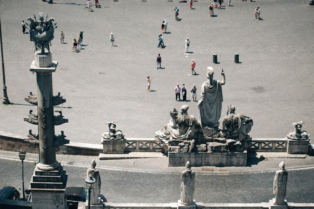 piazza del popolo roma photo turists shot high landscape