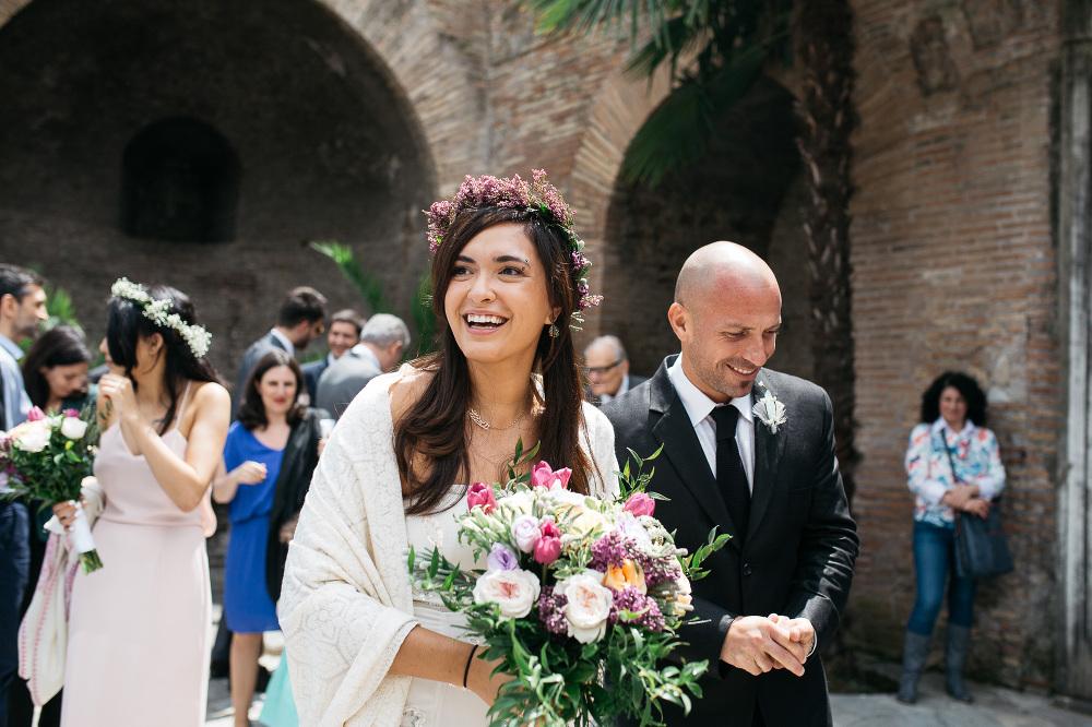 bride groom santa costanza church rome italy photo guests