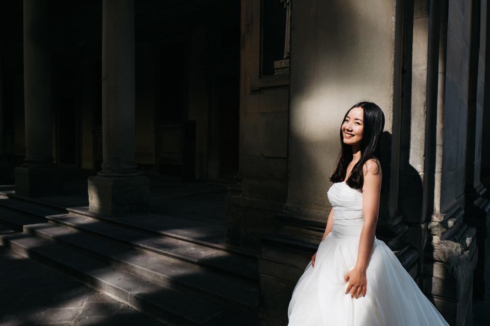 bride portrait asian florence tuscany photo photographer uffizi