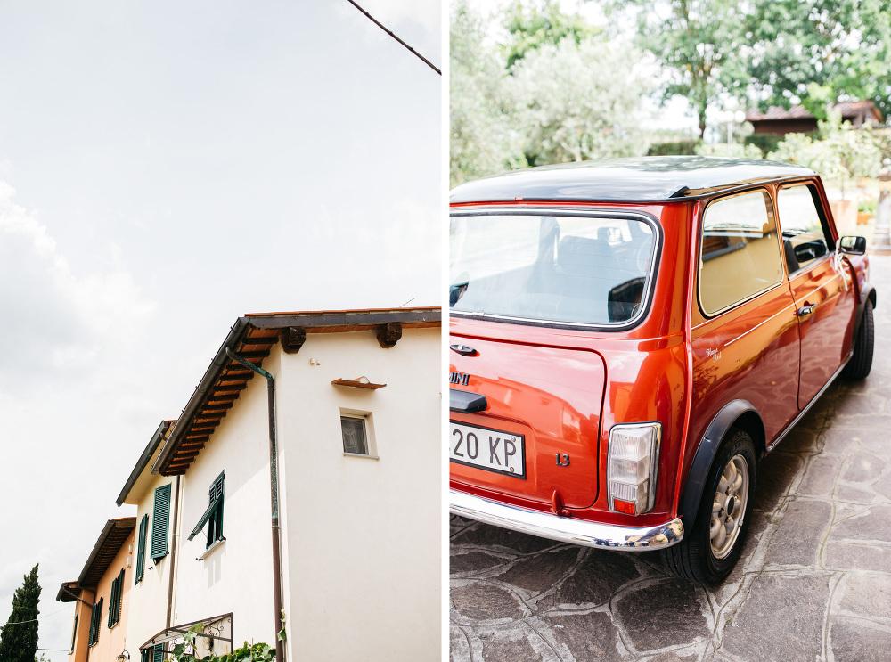 wedding photographer fiesole tuscany photo mini car red detail